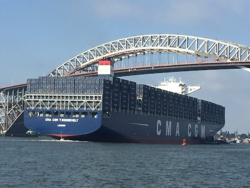 Huge container ship passes under newly-elevated Bayonne Bridge