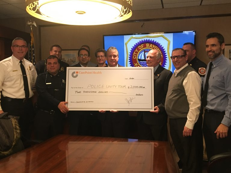 CarePoint Health Bayonne Medical Center presents BPD with check for Police Unity Tour