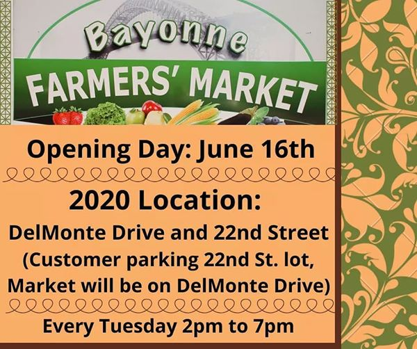 Bayonne Farmers Market reopening on DelMonte Drive