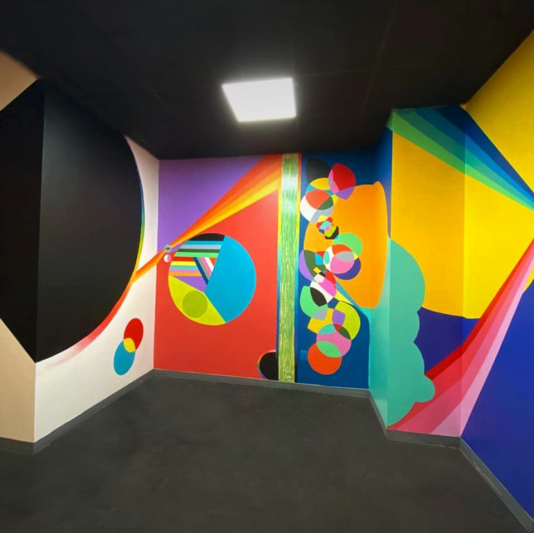 """""""The New House of Color"""" Commissioned Mural project for Art House Productions with artists: Bryant Small, Leandro Comrie and Loren Abbate"""