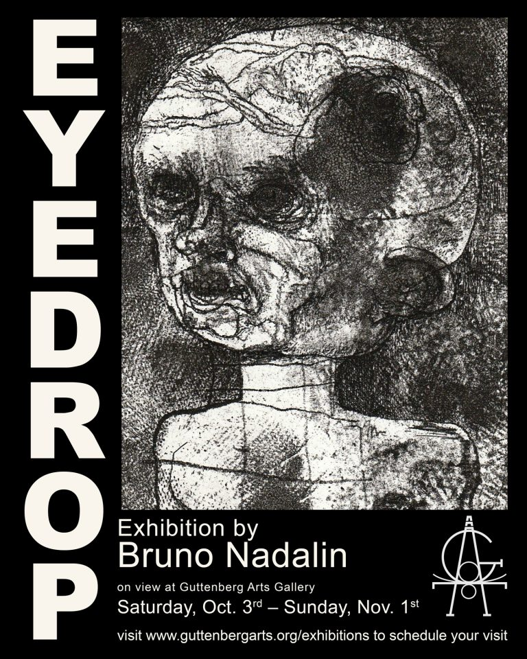 Eyedrop, Etchings by Bruno Nadalin coming this fall to Guttenberg Arts Gallery