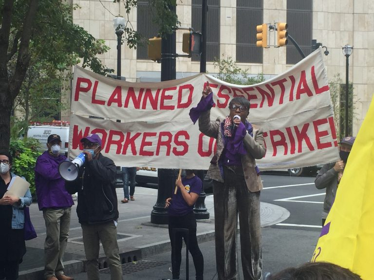 Essential workers rally in downtown Jersey City